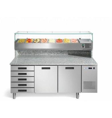 Afinox Pizzawerkbank met Opzetkoelvitrine | 2 Deurs + Lades | Afinox | 192,6x80x(H)85/146.6cm