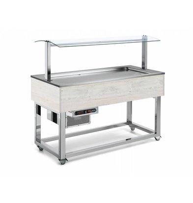 Afinox Gekoelde Buffet Vitrine | Statische Koeling | 4x 1/1 GN | Afinox | Hemlock Kleur | 149,4x76x(H)132,6cm