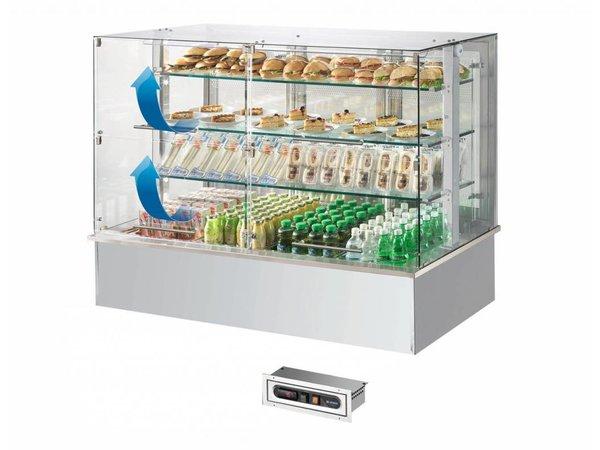 Afinox Gekoelde Buffet Vitrine | Met Glazen Opbouw |  Klapruiten | 3x 1/1 GN | Afinox |  Wengé Kleur | 116,9x76x(H)168cm