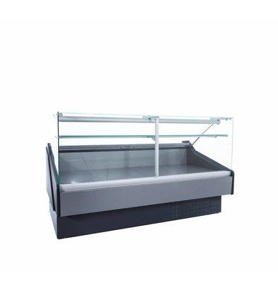 Coolselect Koeltoonbank | Rechte Glasopbouw | LED Verlichting | RVS Etaleervlak | 0°C / +4°C | 197x110x(H)120cm