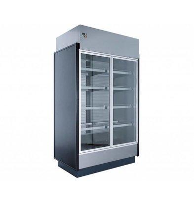 Coolselect Wandkoelmeubel | met Glazen Deuren | LED Verlichting | 0°C / +4°C | 250x80x(H)223,1cm