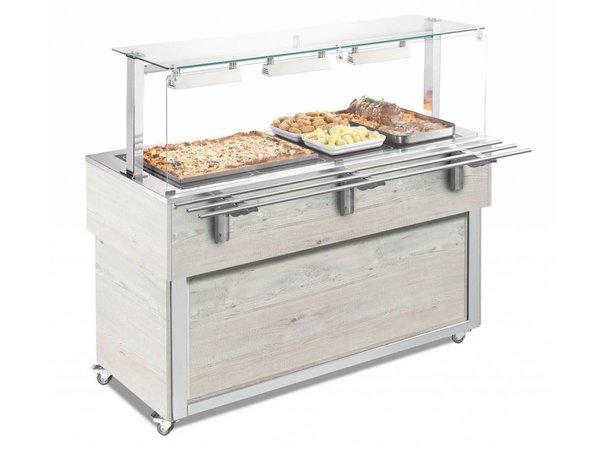 Afinox Drop-in Buffet  Keramische Warmteplaat | geschikt voor 3x 1/1 GN | HEMLOCK | 116,9x65c(H)100,1cm