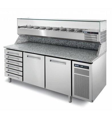 Afinox Pizzawerkbank RVS | 2 Deurs + Ongekoelde Lades | PIZZASPRING 821 I | Afinox | 200,5x80x(H)104cm