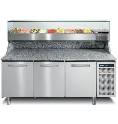 Afinox Pizzawerkbank RVS | 3 Deurs | PIZZASPRING 830 I | Afinox | 200,5x80x(H)104cm