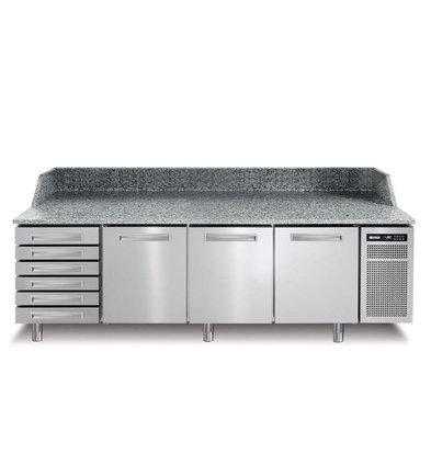 Afinox Pizzawerkbank RVS | 3 Deurs + Ongekoelde Lades | PIZZASPRING 831 I | Afinox | 256x80x(H)104cm