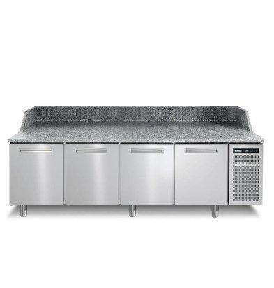 Afinox Pizzawerkbank RVS | 4 Deurs | PIZZASPRING 840 I | Afinox | 256x80x(H)104cm