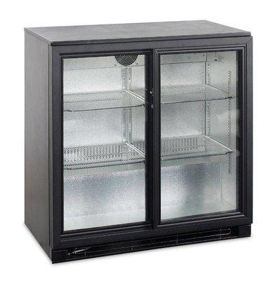 Esta Backbar Koelkast Zwart | Glazen Schuifdeuren | BA20S R600a | Esta | 90x52x(H)90cm