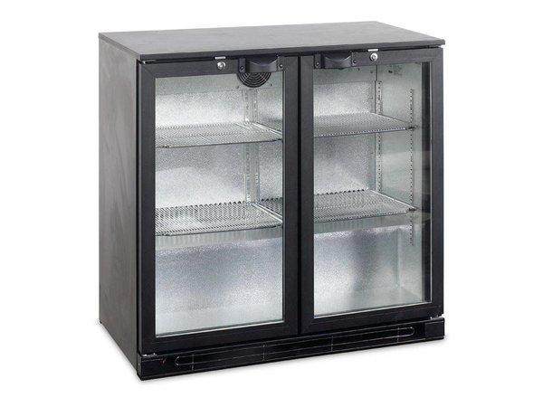 Esta Backbar Koelkast Zwart | Glazen Draaideuren | BA25H R600a | Esta | 90x52x(H)87cm