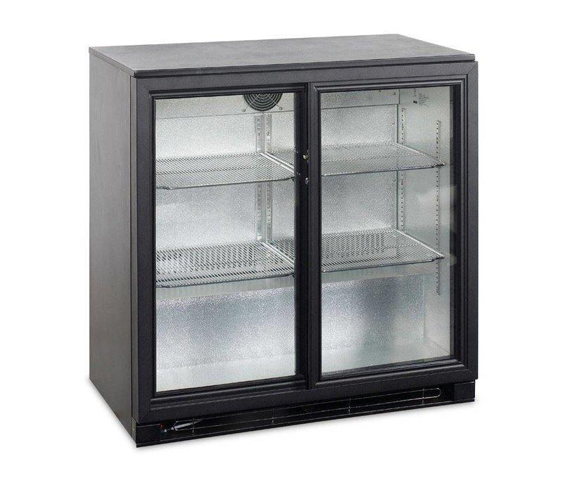 Esta Backbar Koelkast Zwart | Glazen Schuifdeuren | BA25S R600a | Esta | 90x52x(H)87cm