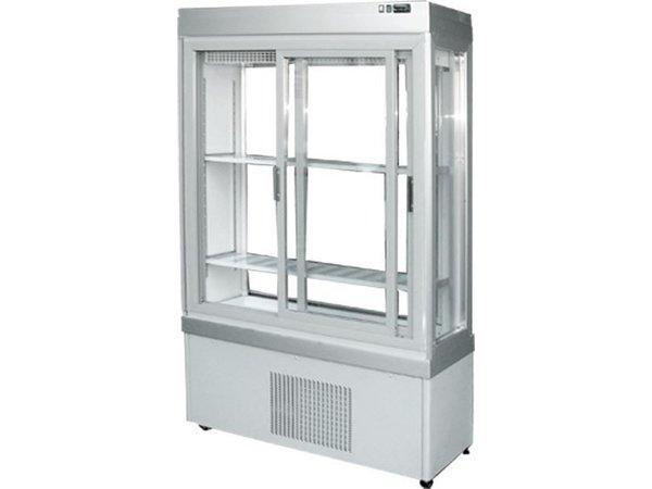 Tekna Line Gebaksvitrine Aluminium | Schuifdeuren | 0-10°C | 3 Zijden Glas | 90x55x(H)188cm
