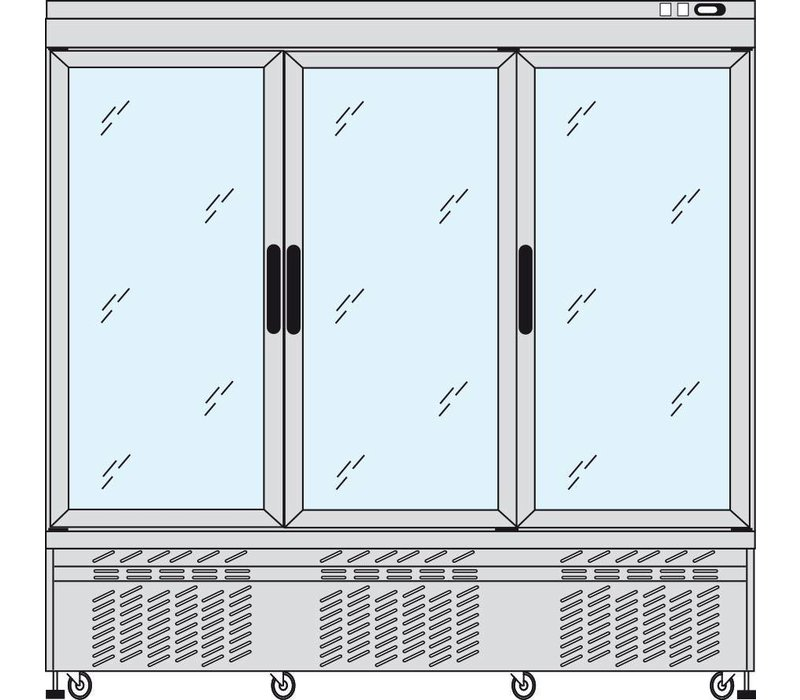 Tekna Line Gebaksvitrine Aluminium | 3 Klapdeuren | -5/+10°C  | 2 Zijden Glas | 197x64x(H)193cm