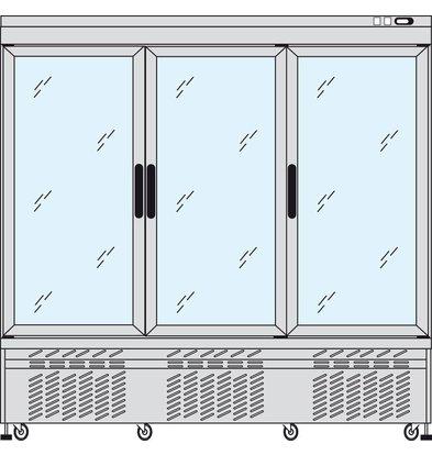 Tekna Line Display Vrieskast Aluminium | 3 Klapdeuren | +5°C / -25°C  | 2 Zijden Glas | 197x64x(H)193cm
