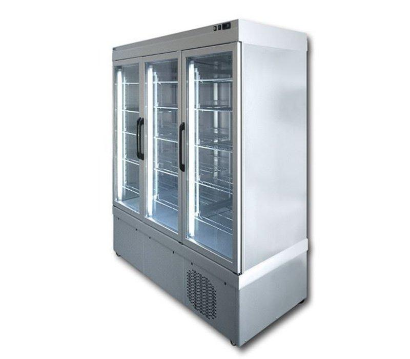 Tekna Line Display Vrieskast Aluminium | 3 Klapdeuren | +5°C / -25°C  | 2 zijden glas |197x64x(H)193cm