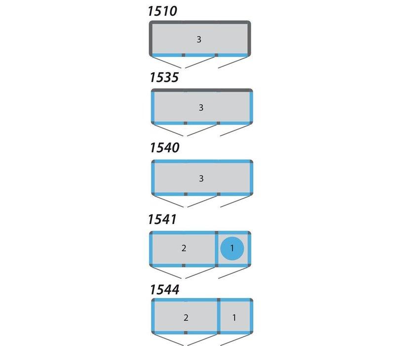 Tekna Line Gebaksvitrine Aluminium 3 Klapdeuren | +2° / +10°C |2 zijden glas | 197x64x(H)188cm