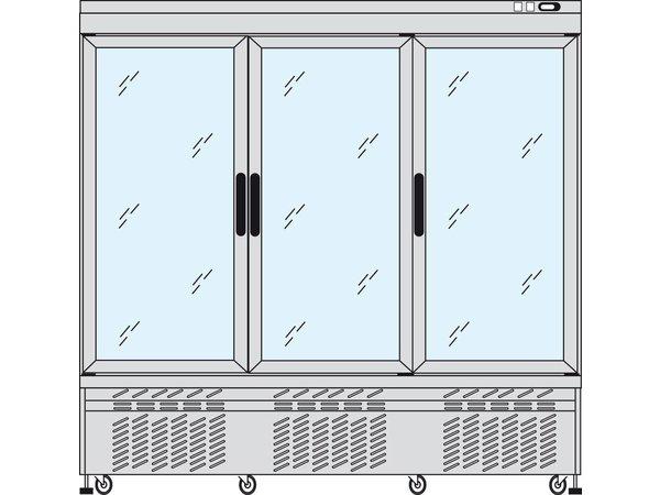 Tekna Line Gebaksvitrine Aluminium | 3 Klapdeuren |  +2° / +10°C | 4 zijden glas | 197x64x(H)188cm