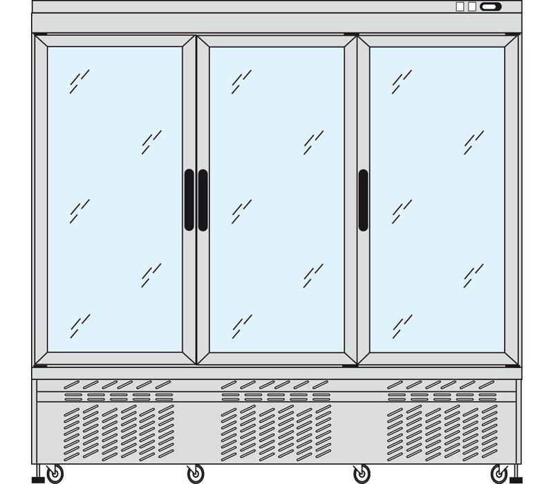 Tekna Line Gebaksvitrine Aluminium | 3 Klapdeuren | -15°C / -25°C; +2 / + 10 °C | 4 zijden glas | 197x64x(H)193cm