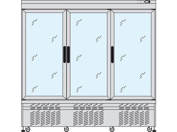 Tekna Line Gebaksvitrine Aluminium | 3 Klapdeuren |  +5 / -25; +5°C / +10°C | 4 zijden glas | 197x64x(H)193cm