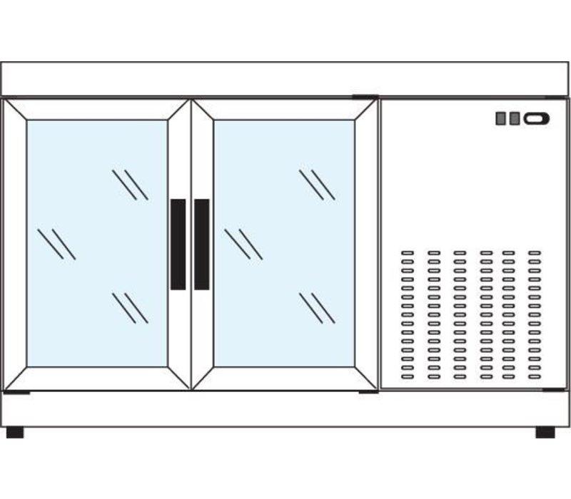 Tekna Line Gebaksvitrine  Barcounter   RVS   2 Glazen Deuren   +10°/-5°C   134x55x(H)88,5cm
