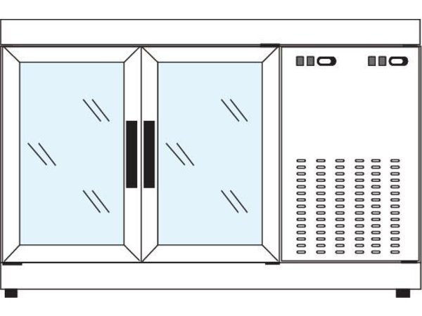 Tekna Line Barcounter | RVS | 2 Glazen Deuren | +10°/-5°;+5°/-25°C | 134x55x(H)88,5cm