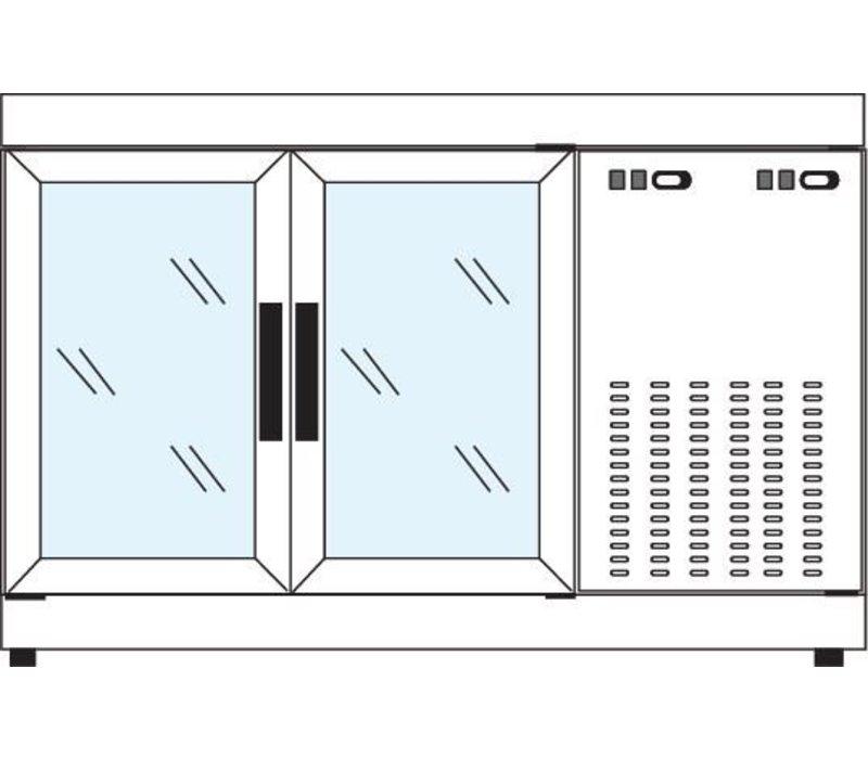 Tekna Line Barcounter | Wit | 2 Glazen Deuren | +10°/-5°;+5°/-25°C | 134x55x(H)88,5cm