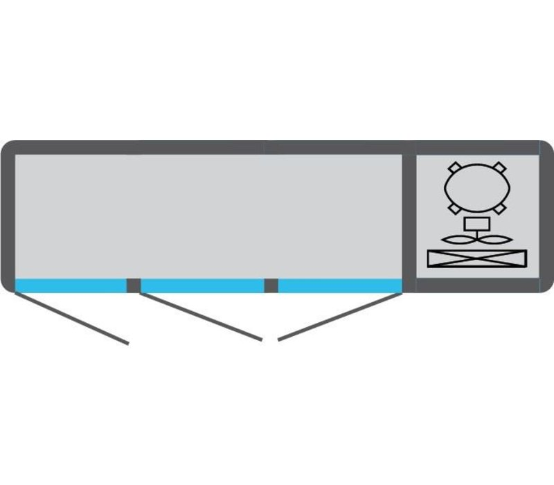 Tekna Line Diepvries Barcounter | RVS | 3 Glazen Deuren | +5°/-25°C | 178x55x(H)88,5cm