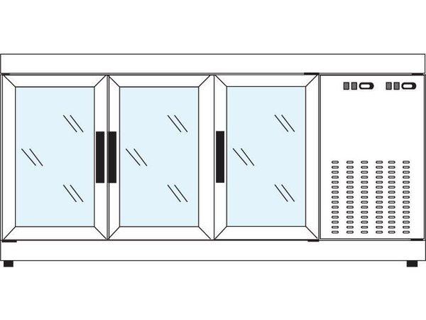 Tekna Line Barcounter   RVS   3 Glazen Deuren   +10°/-5°;+5°/-25°C    178x55x(H)88,5cm