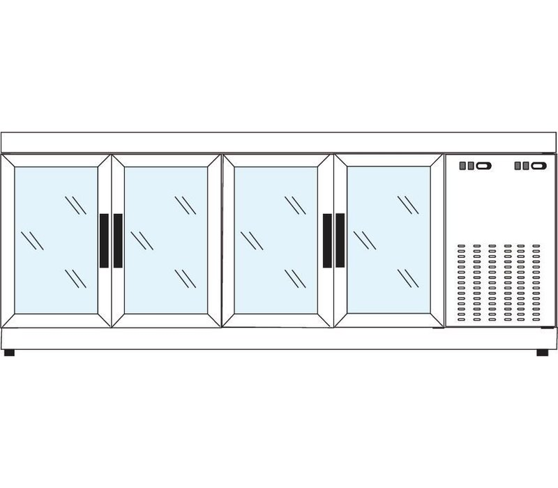 Tekna Line Barcounter | RVS | 4 Glazen Deuren | +10°/-5°;+5°/-25°C  | 222x55x(H)88,5cm