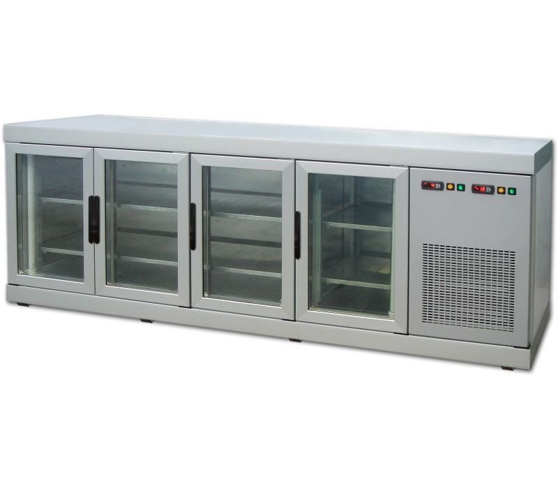 Tekna Line Barcounter | Wit | 4 Glazen Deuren | +10°/-5°;+5°/-25°C  | 222x55x(H)88,5cm