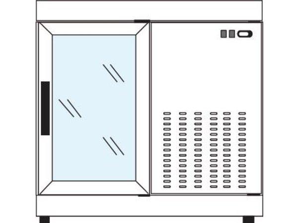 Tekna Line Gebaksvitrine  Barcounter | Voor en Achterzijde glas | RVS | 2 Glazen Deuren | +10°/-5°C | 90x55x(H)88,5cm