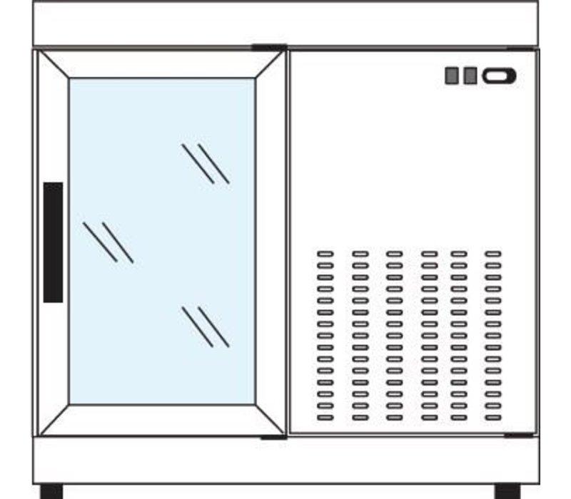Tekna Line Gebaksvitrine  Barcounter | Voor en Achterzijde glas | Wit | 2 Glazen Deuren | +10°/-5°C | 90x55x(H)88,5cm