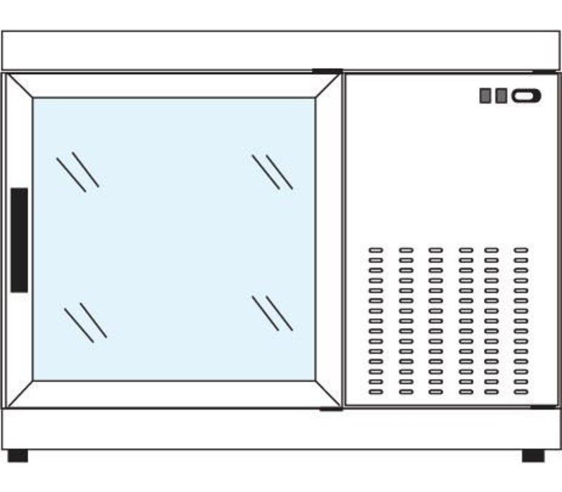 Tekna Line Gebaksvitrine  Barcounter | Voor en Achterzijde glas | RVS | 2 Glazen Deuren | +10°/-5°C | 111x55x(H)88,5cm