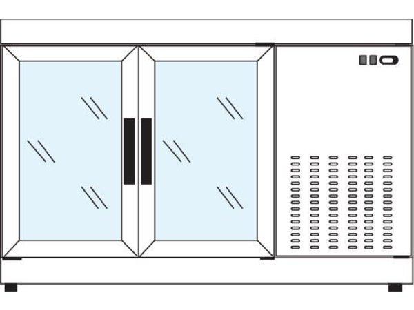 Tekna Line Gebaksvitrine  Barcounter   Voor en Achterzijde glas   Wit   2 Glazen Deuren   +10°/-5°C   134x55x(H)88,5cm