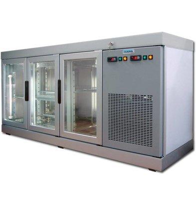 Tekna Barcounter | Voor en Achterzijde glas | RVS | 3 Glazen Deuren | +10°/-5°;+5°/-25°C  | 178x55x(H)88,5cm