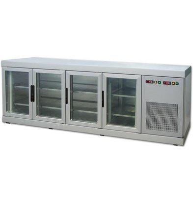 Tekna Diepvries Barcounter | Voor en Achterzijde glas | RVS |4 Glazen Deuren | +5°/-25°C | 222x55x(H)88,5cm
