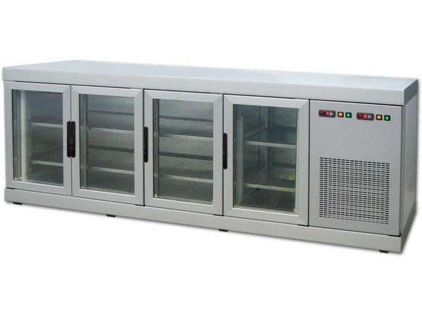 Tekna Line Barcounter | Voor en Achterzijde glas | RVS | 4 Glazen Deuren | +10°/-5°;+5°/-25°C  | 222x55x(H)88,5cm