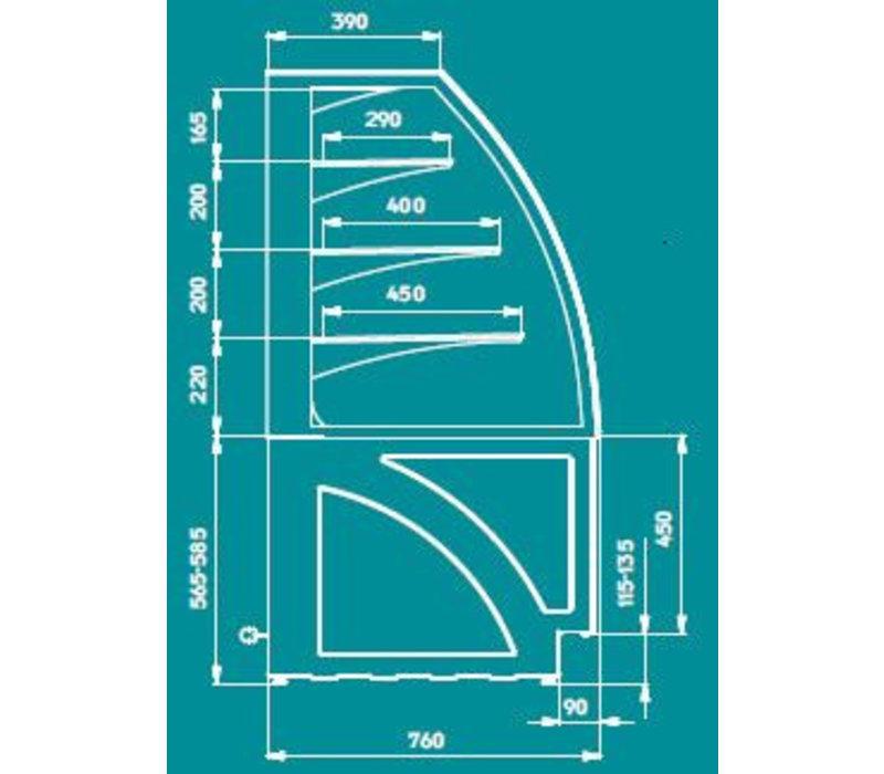 ColdFlow Gebaksvitrine | ALDAN BASIC 100 | 100x76x(H)141cm | Beschikbaar in 3 Kleuren