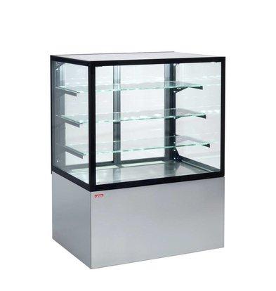 ColdFlow Gebaksvitrine Grijs | Schuifdeuren aan de achterzijde | CUBE II 1000 | 99x74,2x(H)134,4cm