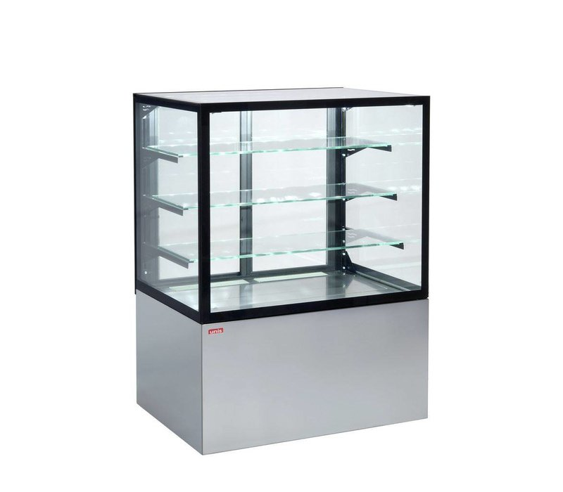 ColdFlow Gebaksvitrine Grijs   Schuifdeuren aan de achterzijde   CUBE II 1000   99x74,2x(H)134,4cm
