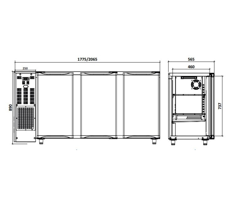 Diamond Bar Kühlschrank 3 Türen | 579Liter | 206,5 × 56,5 × (H) 89 / 90,5 cm