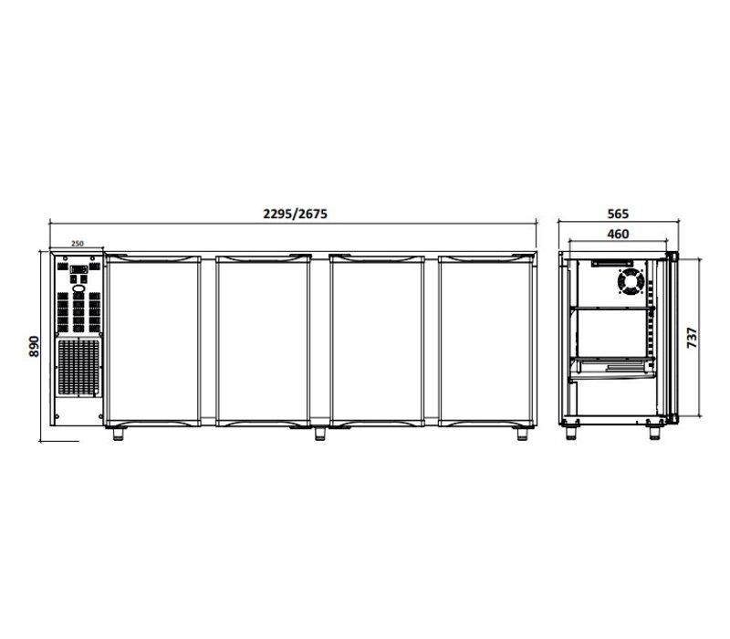 Diamond Bar Kühlschrank 4 Türen | 783Liter | 267,5x56,5x (H) 89 / 90,5 cm