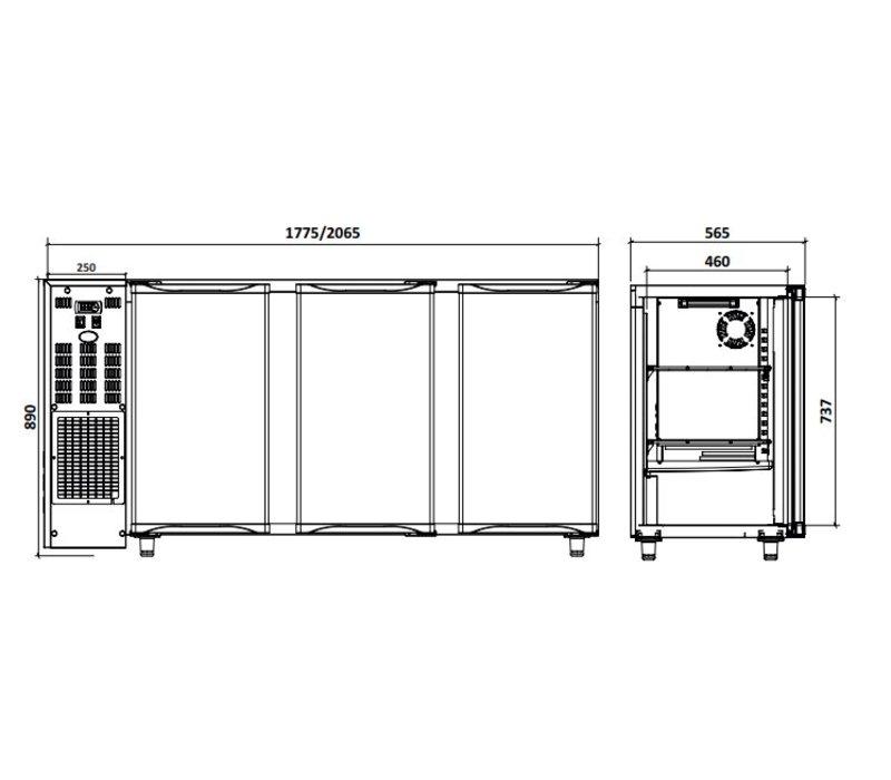 Diamond Barkoelkast 3 Glazen Deuren | RVS |  579Liter  | 206.5x56.5x(H)89/90.5cm