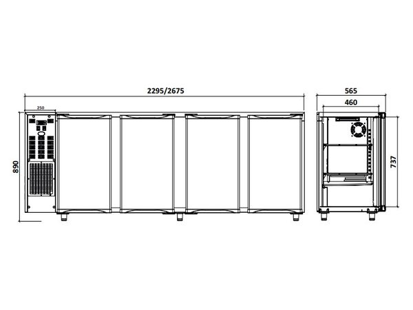 Diamond Barkoelkast 4 Deurs | RVS | 783Liter | 267.5x56.5x(H)89/90.5cm