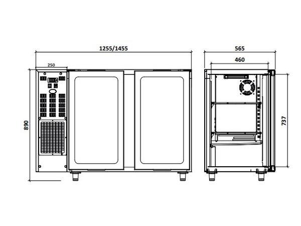 Diamond Bar Kühlschrank 2 Türen | 375 Liter 145,5x56,5x (H) 89 / 90,5 cm - Copy