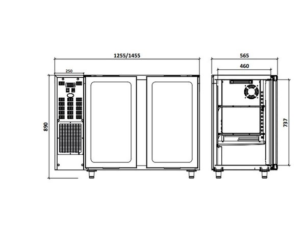 Diamond Bar Kühlschrank 2 Glastüren | Edelstahl | 375 Liter 145,5x56,5x (H) 89 / 90,5 cm