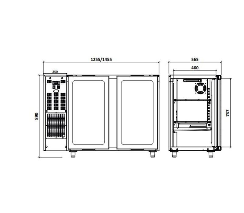 Diamond Barkoelkast 2 Glazen Deuren| RVS | 375 Liter | 145.5x56.5x(H)89/90.5cm