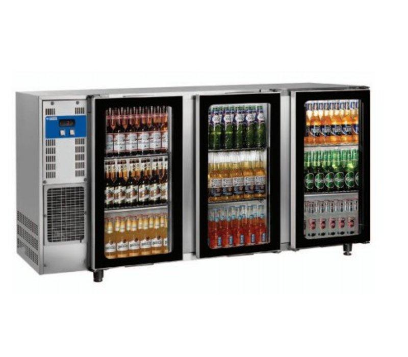 Diamond Bar Kühlschrank 3 Glastüren | Edelstahl | 579Liter | 206,5 × 56,5 × (H) 89 / 90,5 cm