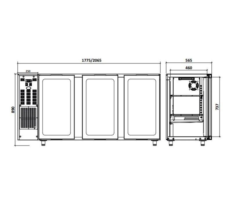 Diamond Barkoelkast 3 Glazen Deuren| RVS |  579Liter  | 206.5x56.5x(H)89/90.5cm