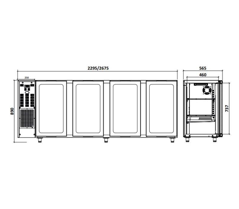 Diamond Barkoelkast 4 Glazen Deuren | RVS | 783Liter | 267.5x56.5x(H)89/90.5cm