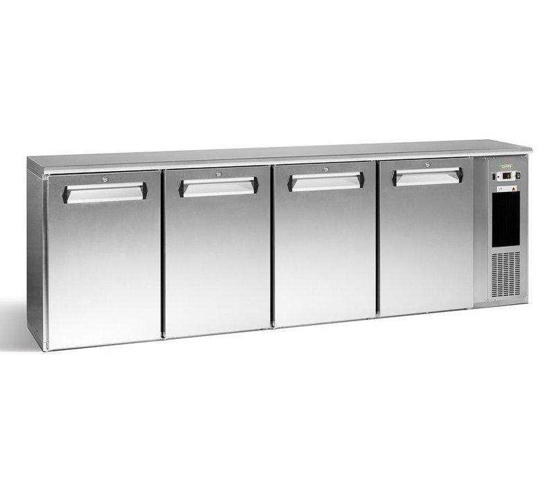 Gamko Flasche Chill-4-Tür | Chrom | Gamko E3 / 2222MUCS | 722 33 cl Flaschen. | 728L | ECO-Line | 2542x492x840 / 860-880mm