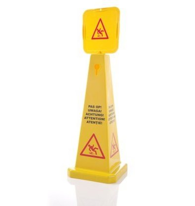 Warning sign Wet floor Pyramid shape In 5 languages 280x280x (H) 920mm